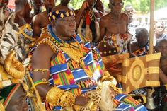 "King of the Ashantis and the occupant of the Golden Stool, Otumfuor Osei Tutu II in his special regal Kente cloth. He is the only one that has this type of Kente in the world. This kente is customize and any King/sub-chief under him must not wear same as tradition and custom demands. He represent the soul of the Ashantis as a ""King of Kings."""