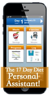 Everything you need to succeed at the 17 day diet all wrapped up in an app. iPhone, iPad, Android and Kindle.