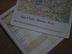 Vacation Book by minnemom - Create a Vacation Book with maps, brochures, activity sheets relating to the route and destination for you and your kids.  You will have everything at your fingertips for your trip, and it will keep the kids busy on the road.
