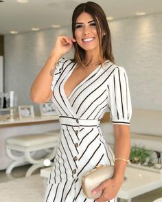 Image may contain: 1 person, stripes Cute Dress Outfits, Stylish Dresses, Casual Dresses, Fashion Dresses, Cute Dresses, Prom Dresses Jovani, Colourful Outfits, Colorblock Dress, Elegant Outfit