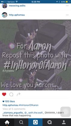 Repin!!! #RememberAaron #InHonourOfAaron we love you Aaron