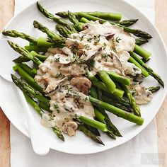 For asparagus that is perfectly crisp-tender, look to blanching. The simple cooking method involves dunking boiled asparagus in an ice bath to prevent wilting. Top the easy asparagus recipe with our homemade mushroom cream sauce for a side dish with a spin. /