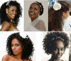 Inspirações de penteado para noivas com cabelos crespos
