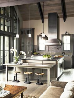Gourmet Kitchens : Kitchen Remodeling : HGTV Remodels | Looks like Christian Grey's kitchen to me.
