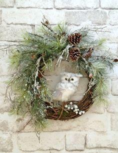 Owl Christmas Wreath, Front Door Wreath, Christmas Door Wreath, Grapevine Wreath, Winter Wreath, Snowy Owl Wreath, Christmas Decor, Holiday by AdorabellaWreaths on Etsy https://www.etsy.com/listing/254197026/owl-christmas-wreath-front-door-wreath