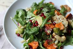 Roasted Cauliflower, Brussel Sprout& Sweet Potato Salad with Horseradish Vinegarette