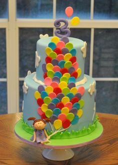 2 tier girl with large bunch of balloons cake