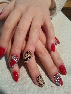 Glam nails #red #leopard print #rhinestones