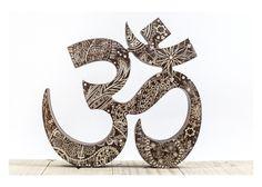 Engraved Wooden symbol OM, wall hanging OM, yoga studio decor