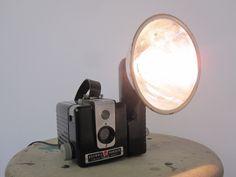 Items similar to Repurposed Vintage Camera Lamp - Kodak Brownie Hawkeye Flash Camera on Etsy Lampe Photo, Best Desk Lamp, Geometric Lamp, Arc Lamp, Torchiere Lamp, Buffet Lamps, Vintage Cameras, Hawkeye, Tripod Lamp