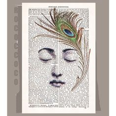 The PEACOCK Feather  ORIGINAL ARTWORK  printed on by RococcoCo, $9.95