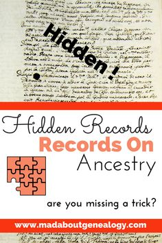 You want to get the best genealogy value out of your Ancestry subscription, but is your family history missing out by not knowing where all the records are? Do you know about the records that won't come up as hints and green leaves? Do you know that some family history records aren't even indexed? Let me show you where this genealogy treasure is hiding!