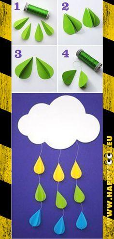 057 - Raindrops keep falling on my head...: Se non sapete come trascorrere un pomeriggio di pioggia in compagnia dei vostri bambini ricordatevi di questa idea. Vi serve solo del filo, cartoncini colorati e colla (o spillatrici).