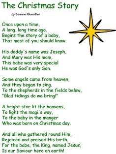 christmas poems for preschoolers | ... Poetry Sections ] [more poems from Leanne Guenther ] [ Christmas