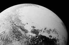 A synthetic perspective view of Pluto, based on the latest high-resolution images to be down linked from NASA's New Horizons spacecraft, shows what you would see if you were approximately 1,100 miles above Pluto's equatorial area, looking toward the bright, smooth expanse of icy plains informally called Sputnik Planum, July 14, 2015