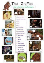 English worksheet: The Gruffalo - animation ws - 4 pages - 8 exercises - editable