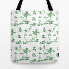 Green Toile Unicorn Tote Bag by That's So Unicorny - $22.00