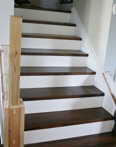 Remodelaholic | On the Rise; Adding the Stair Risers, Finishing the Runners