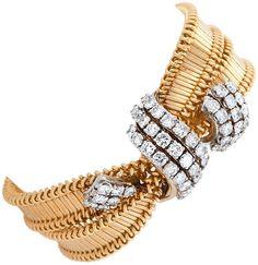 CARTIER 1950's Diamond and Gold Bracelet - Macklowe Gallery