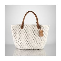 """Cotton Crochet Tote by Ralph Lauren. Double leather handles. Why do I fall in love with the one that costs $419? 13"""" H x 21"""" L x 6"""" D"""