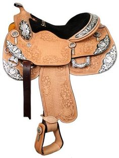 "SHOWMAN 16"" WESTERN PLEASURE SILVER HORSE SHOW SADDLE W/MATCHING HEADSTALL- I need this!"