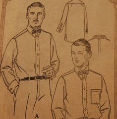 Vintage 1920s McCall's Men's Shirt Pattern by NostalgiaVintage2