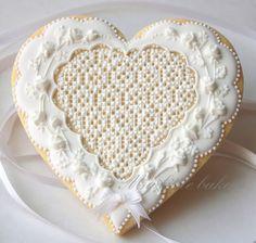 My Little Bakery ~ White Roses on a White Heart
