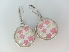 Boucles d'oreilles Dormeuses pour bouton-pression interchangeable et cabochon en verre blanc et rose : Boucles d'oreille par pour-dire-merci
