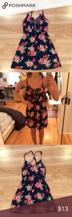 Hollister Dress! Navy Floral Hollister dress! Size small!   Only worn once! Excellent condition Hollister Dresses Mini