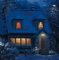 """Warm inviting golden lights through the windows (detail from """"Waiting For Santa"""" by Eugene Lushpin)."""