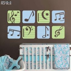 Aqua/Gray/Lime musical nursery-very different from any other baby theme.