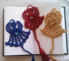 Blue, red and gold hand crochet Angel Bookmarks