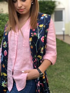 Floral waistcoat Greek Fashion, Slow Fashion, Fashion Brands, Bomber Jacket, Clothes For Women, Floral, Clothing, Jackets, Outfits For Women