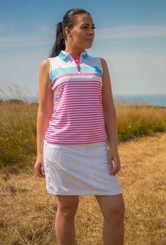 Breathable Sleeveless Zip Up Polo Shirt. #islandgreen #golfapparel #golf