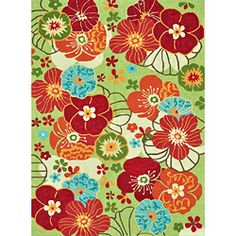Peony Apple Green Floral Rug (3'6 x 5'6)