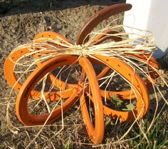 Repurposed Horseshoe Pumpkin Great Indoors or Out by VictoryBarn