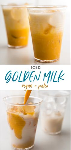 This iced golden milk turmeric latte is just delicious, loaded with anti-inflammatory turmeric and ancient, healing spices. Paleo and vegan, keto option Yummy Drinks, Healthy Drinks, Healthy Snacks, Refreshing Drinks, Eat Healthy, Healthy Living, Best Nutrition Food, Health And Nutrition, Health Tips