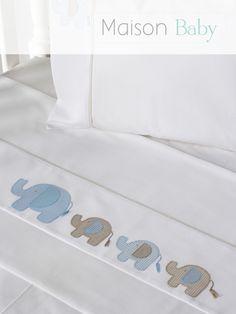 Lençol de berço 3 peças Elefante em percal 250 fios, 100% algodão. Crib sheet set. #maisonbaby #lençol de berço #cribsheetset