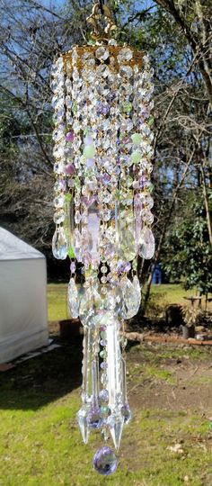 Pale Green and Violet Antique Crystal Wind Chime, Spring Crystal Wind Chime, Outdoor Decoration, Window Decoration by sheriscrystals on Etsy