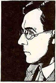 Self Portrait, 1922, Walter J. Phillips, woodcut, 8.8 x 5.9 cm., woodcut on paper, Winnipeg, Canada