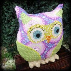 Dahlia.  A vibrant owl pillow.  Owl cushion.  by TheSherbetPatch, £24.00