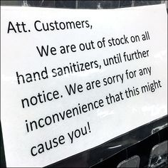 """""""Sorry for any inconvenience,"""" says this CoronaVirus Sanitizer Auto-Feed Stock-Out pronouncement. But what did you expect shopping a hand sanitizer aisle. Flyer Distribution, Retail Fixtures, Flu Remedies, Visual Merchandising, Hand Sanitizer"""