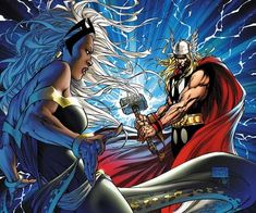 ArtVerso — Michael Turner (in memoriam) - Storm vs Thor Ms Marvel, Marvel Art, Captain Marvel, Marvel Comics, Comic Book Artists, Comic Books Art, Comic Art, Michael Turner, Silver Surfer