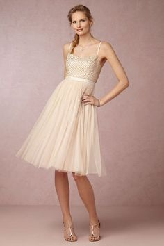 "Beaded bodie with spaghetti straps and tulle knee length short wedding dress | ""Coppelia"" by BHLDN"
