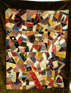Late Victorian Pieced and Embroidered Table Cover/Crazy Quilt