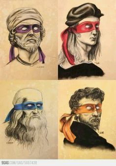 Renaissance artists as Ninja Turtles - Funny cartoon with popular renaissance artists Donatello, Raphael, Leonardo da Vinci and Michelangelo wearing colorful masks like Teenage Mutant Ninja Turtles characters. MADE ME THINK OF KIEFER! Art Ninja, Renaissance Artists, Renaissance Men, Italian Renaissance, Charlie Chaplin, Michelangelo, Teenage Mutant Ninja Turtles, Caricatures, Tmnt