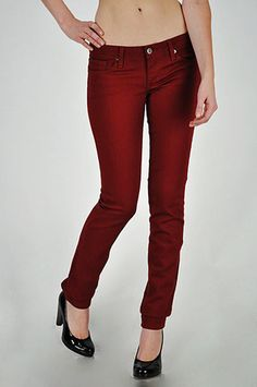 The colored Jean of The Month is the Wine Skinny, these jeans can be glammed up by mixing color and texture (try our gold sparkly top) with a metallic clutch and pumps in a luxe snake print, or they can be dressed down by pairing a soft sweater and checkered shirt with a neutral colored cross-body bag and heeled lace up booties.  You can find some awesome ideas on how to dress these jeans in the September 2012 issue of People StyleWatch mag on p. 116