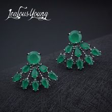 SALE $4.97 - Hot Classical Water Drop Sector Stud Earrings With Green Cubic Zirconia Crystal For Women Party Earings Fashion Jewelry AE286