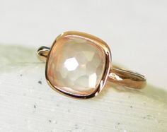 SALE - Rose Quartz Faceted Cushion-cut Rose Gold Vermeil Ring - Stacking Rings - Stackable Rings - Bezel Rings