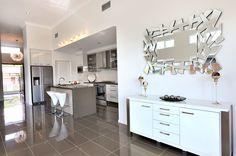 Silkwood Display Homes, Fraser Coast Builder, GJ Gardner Homes Fraser Coast Glossy Kitchen, Kitchen Tiles, Local Builders, Living Area, Living Room, Outside Decorations, House Inside, Display Homes, Home Kitchens